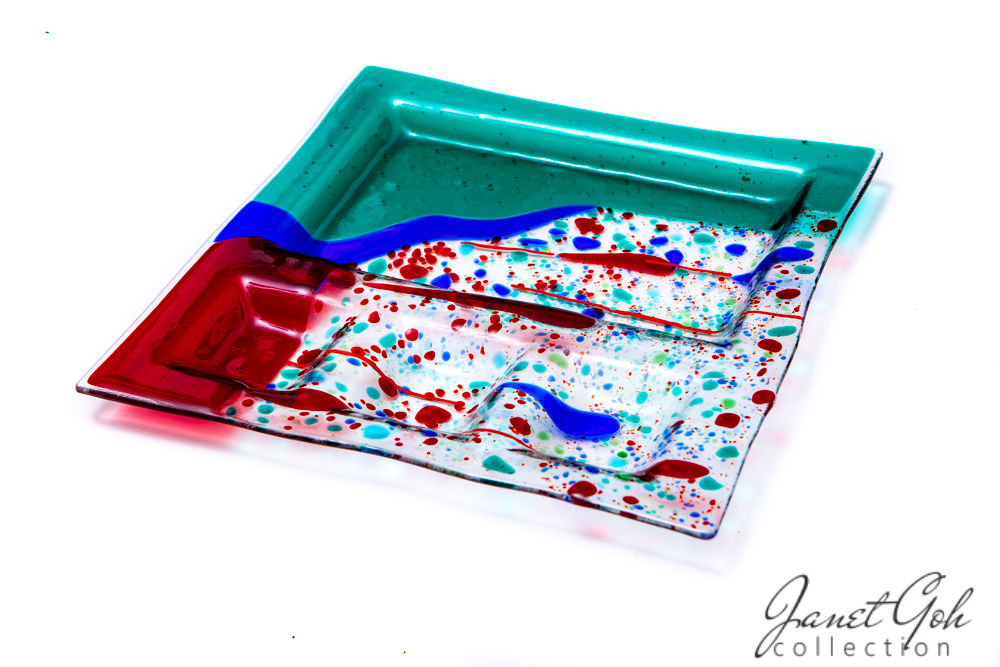 11 Inch Square Fused Gl Sushi Plate